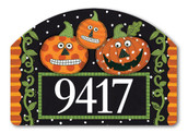 Yard DeSign Address Sign Pumpkin Faces