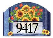 Yard DeSign Address Sign Denim Sunflowers