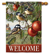 Chickadees And Apple Branch Decorative House Flag