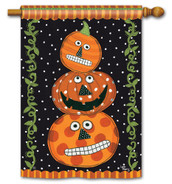 BreezeArt Outdoor House Flag Pumpkin Faces