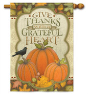 With A Grateful Heart Decorative House Flag
