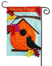 Pumpkin Birdhouse Garden Applique Flag