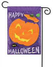 Happy Pumpkin Applique Halloween Garden Flag