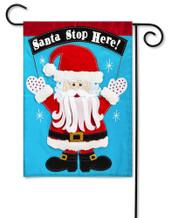 Applique Garden Flag Santa Stop Here