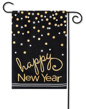 Burlap Garden Flag Happy New Year
