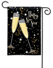 Happy New Year's Toast Garden Flag