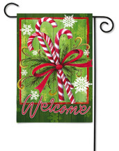 Candy Canes and Ribbon Outdoor Garden Flag