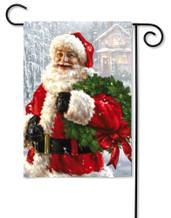Christmas Garden Flag Santa's Wreath
