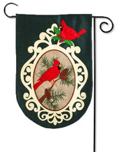 Burlap Garden Flag Holiday Birds