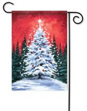 Snowy Tree Christmas Garden Flag