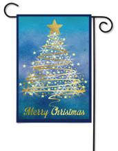 Outdoor Garden Flag Gold Christmas Tree