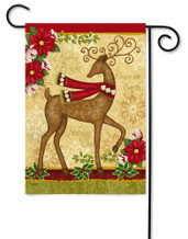 Peace on Earth Deer and Dove Garden Flag