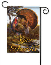Give Thanks Turkey Decorative Garden Flag