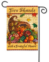 Thanksgiving Garden Flag Grateful Heart