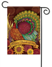 Colorful Turkey Thanksgiving Garden Flag