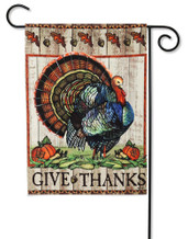 Give Thanks Turkey Garden Flag reads correctly on both sides