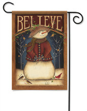 Believe Snowman Decorative Garden Flag