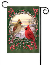 Cardinal Wreath Outdoor Garden Flag