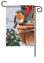 Rosy Robin Decorative Garden Flag