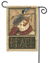 Snowman and Chickadee Garden Flag