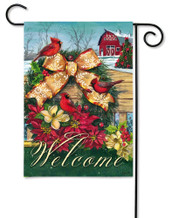 Outdoor Garden Flag Cardinals Wreath on Fence