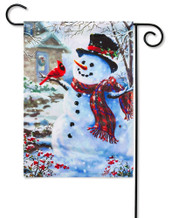Outdoor Garden Flag Snowman and Feathered Friend