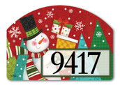 Happy Snowman Home Address Sign