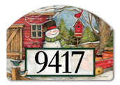 Red Barn Snowman Home Address Sign