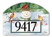 Snowman Birdfeeder Home Address Sign