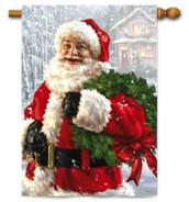 Santa's Wreath Christmas Outdoor House Flag
