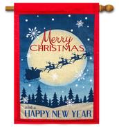 Merry Christmas Happy New Year Burlap House Flag