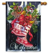 Norwegian Christmas Wellies Outdoor House Flag