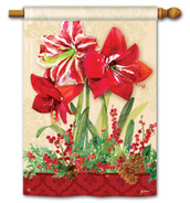 BreezeArt Amaryllis Christmas Outdoor House Flag