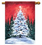 Snowy Tree Christmas House Flag
