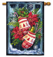 Norwegian Christmas Mittens Outdoor House Flag