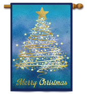 Outdoor House Flag Gold Christmas Tree