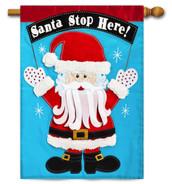 Applique House Flag Santa Stop Here