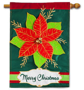 Applique House Flag Merry Christmas Poinsettia