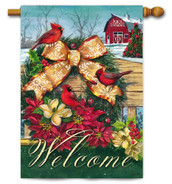 Outdoor House Flag Cardinals Wreath on Fence