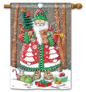 BreezeArt Jolly Santa Christmas Outdoor House Flag