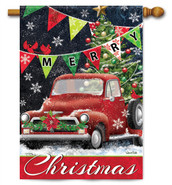 Red Truck Christmas Decorative House Flag