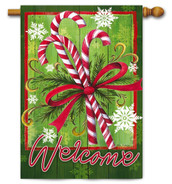 Candy Canes and Ribbon Outdoor House Flag