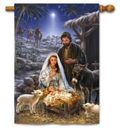 Nativity House Flag A Savior is Born