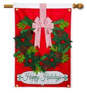 Applique House Flag Holiday Wreath