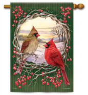 Cardinal Wreath Decorative House Flag
