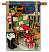 BreezeArt Santa's Porch Christmas Outdoor House Flag