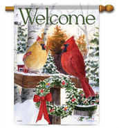 Christmas Cardinals Decorative House Flag