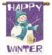 Happy Winter Decorative House Flag