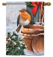 Rosy Robin Decorative House Flag