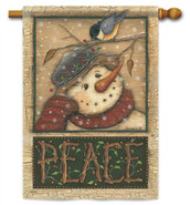 Snowman and Chickadee Winter House Flag